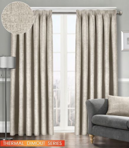 SEMI PLAIN READY MADE THERMAL WOVEN MATERIAL DIMOUT PENCIL PLEAT PAIR CURTAINS CREAM COLOUR